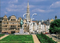 BRUSSELS, the Mont des Arts park and the tower of the City Hall