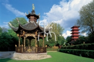 BRUSSELS, Chinese Pavilion's kiosk and Japanese tower