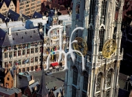 ANTWERP, city hall and tower of the Cathedral
