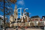 ANTWERP, Groenplaats and the Cathedral